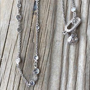 Henri Bendel Silver Crystal Station Necklace!